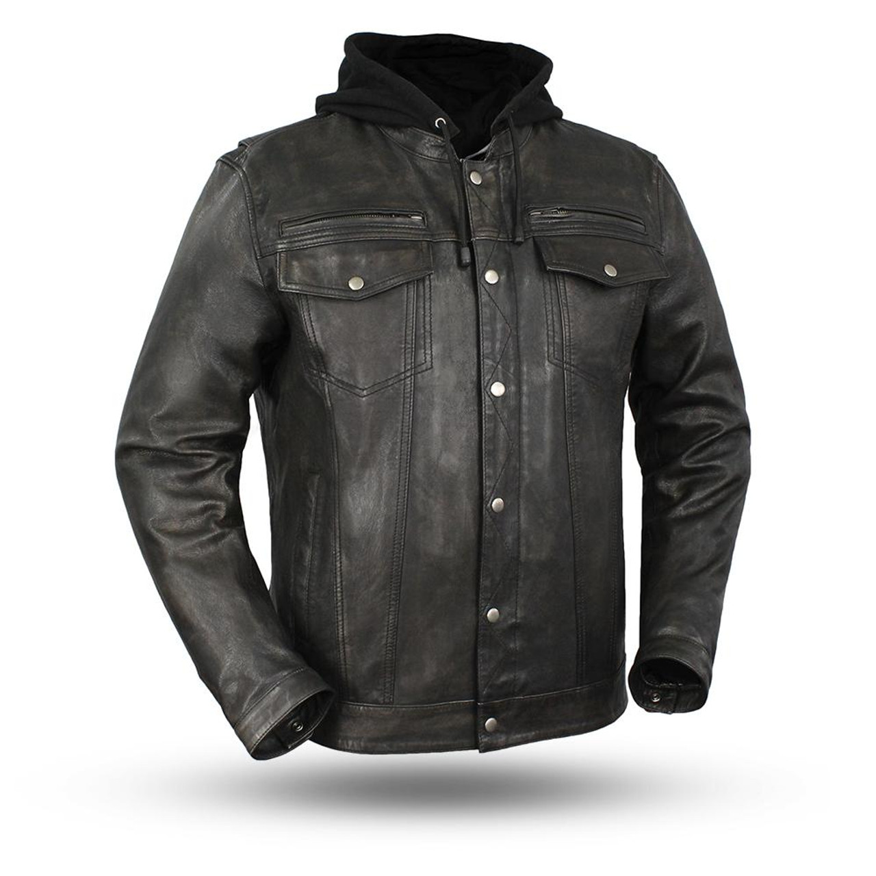 803a7f538 MEN'S MOTORCYCLE RIDING LEATHER JACKET, VENDETTA HOODY