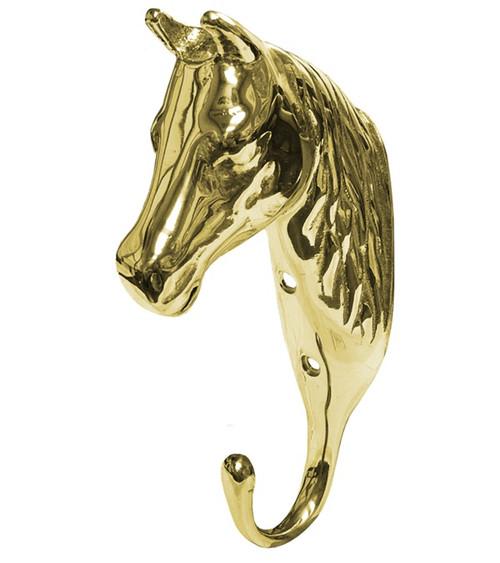 3-D Solid Brass Horse Head Hook