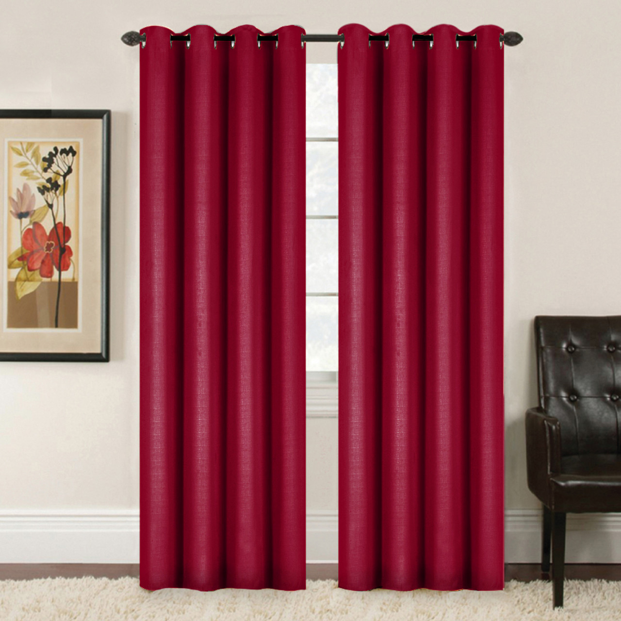 Embossed Weave Blockout Eyelet Curtain Burgundy 137 X 213cm Prices Plus
