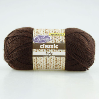 Cast On Classic 8ply Chocolate 300g  - 10 pack | Prices Plus