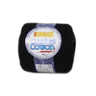 Crochet Cotton Jet Black 50g - Pack of 10 | Prices Plus