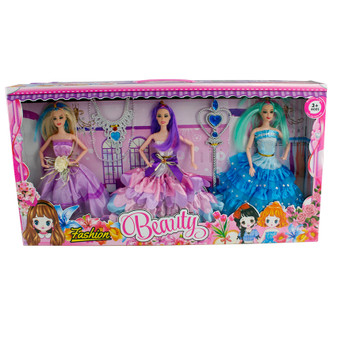 Beauty 3 Doll set with ball dress accessories | Prices Plus