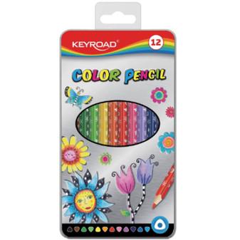 Keyroad Metal Tin Coloured Pencils 12PK | Prices Plus