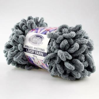 Cast On Finger Knitting Loop Yarn 180 gram Solid Grey - 10 pack | Prices Plus