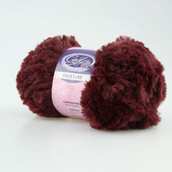Cast On Faux Fur Knitting Yarn 100 gram Burgundy - 10 pack | Prices Plus