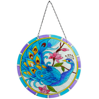 Peacock Hanging Glass Wall Deco | Prices Plus