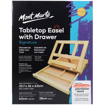 Mont Marte Signature Pine Table Easel With Drawer | Prices Plus