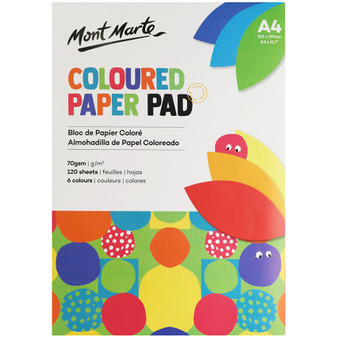 Mont Marte Coloured Paper Pad  70GSM 120 Sheet A4   Prices Plus