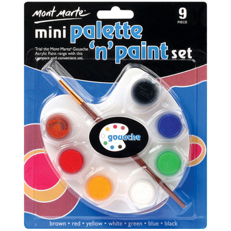 Mont Marte Mini Palette and Gouache Paint Set | Prices Plus