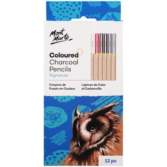 Mont Marte Charcoal Coloured Pencils 12pce|Prices Plus