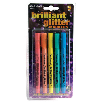 Mont Marte Brilliant Glitter Markers 5pce|Prices Plus