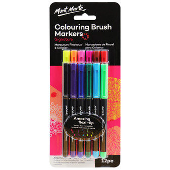 Mont Marte Adult Colouring Brush Markers 12pce|Prices Plus
