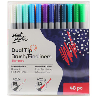 Mont Marte Dual Tip Brush/Fineliners Markers 48pce|Prices Plus