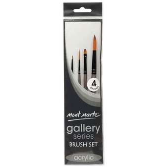 Brush Set MM Gallery Series Acrylic 4pce (Detailer, Liner, Round and Flat)|Prices Plus