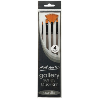 Brush Set MM Gallery Series Acrylic 4pce (Round, Flat and Fan)|Prices Plus