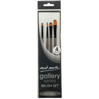 Brush Set MM Gallery Series Acrylic 4pce (Round, Flat and Bright)|Prices Plus