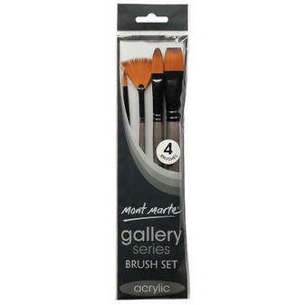 Brush Set MM Gallery Series Acrylic 4pce (Round, Bright, Filbert and Fan)|Prices Plus