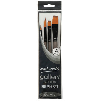 Brush Set MM Gallery Series Acrylic 4pce (Round and Flat)|Prices Plus