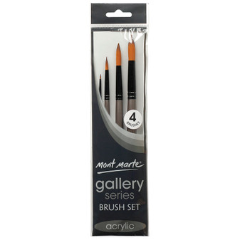 Brush Set MM Gallery Series Acrylic 4pce (Round)|Prices Plus
