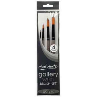 Brush Set MM Gallery Series Acrylic 4pce (Round)|Prices Plus
