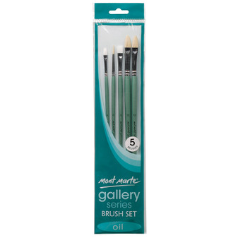 Brush Set MM Gallery Series Oils 5pce (Bright, Filbert, Flat and Round)|Prices Plus
