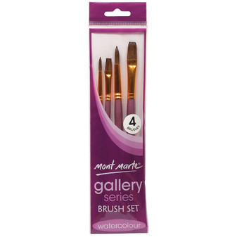 Brush Set MM Gallery Series Watercolour 4pce (Round and Flat)