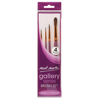Brush Set MM Gallery Series Watercolour 4pce (Round and Mop)