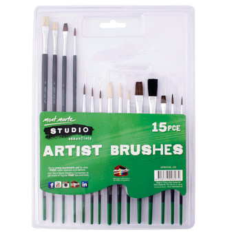 Mont Marte Studio Artist Brushes 15pce | Prices Plus