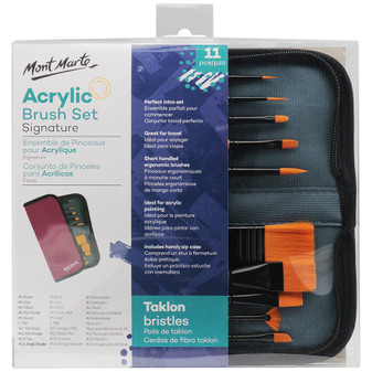 Mont Marte Acrylic Brush Set In Wallet 11pce|Prices Plus