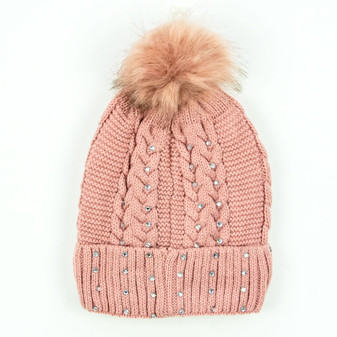Rockie Ladies Cable Knit Beanie with Pom Pom and Rhinestones | Prices Plus