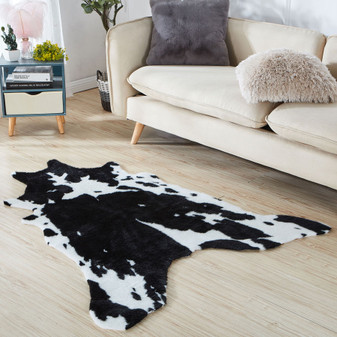 Black & White Faux Cow Rug | Prices Plus