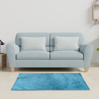 Sumptuous Teal Shaggy Rug - MED | Prices Plus
