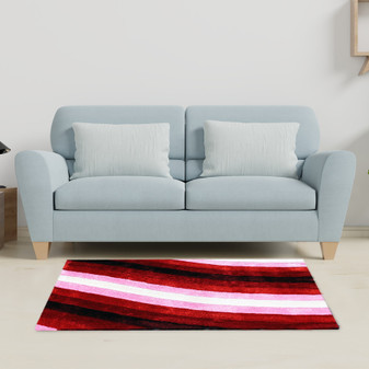Contrast Pink Shaggy Rug - MED | Prices Plus