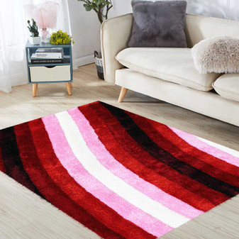 Contrast Pink Shaggy Rug - LARGE | Prices Plus