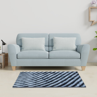 Contrast Grey Shaggy Rug - MED | Prices Plus
