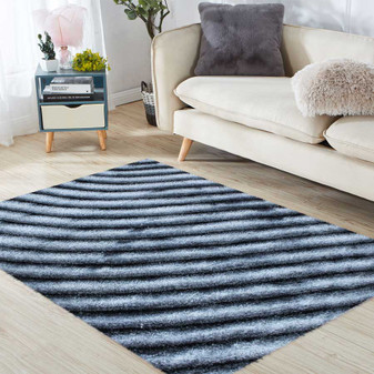 Contrast Grey Shaggy Rug - LARGE | Prices Plus