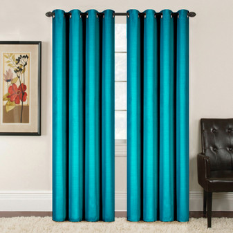 Embossed Weave Blockout Eyelet Curtain Aqua - 137 x 213cm | Prices Plus