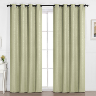 Embossed Pattern Blockout Eyelet Curtain Beige - 137 x 213cm | Prices Plus