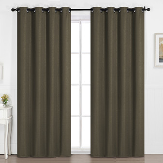 Embossed Pattern Blockout Eyelet Curtain Chocolate - 137 x 213cm | Prices Plus