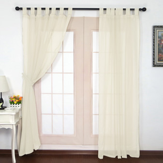 Crushed Voile Tab Top Curtains Ivory - 132 x 213cm | Prices Plus