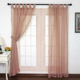 Crushed Voile Tab Top Curtains Old Rose - 132 x 213cm | Prices Plus