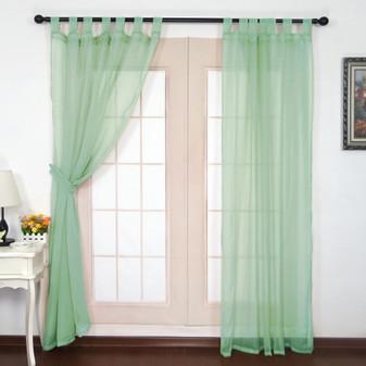 Crushed Voile Tab Top Curtains Aqua - 132 x 213cm | Prices Plus