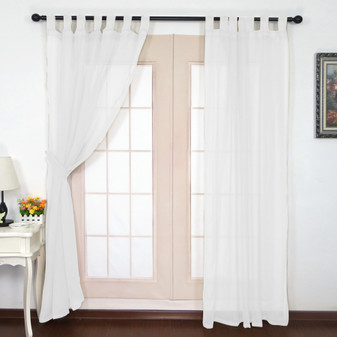 Crushed Voile Tab Top Curtains White - 132 x 213cm | Prices Plus
