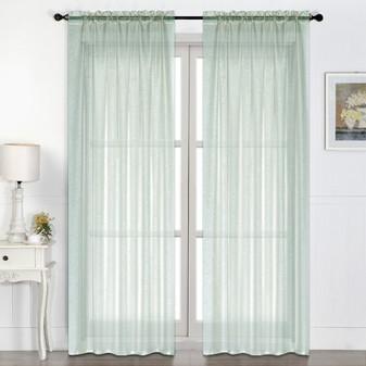 Sheer Rod Pocket Curtain Aqua - 132 x 213cm | Prices Plus