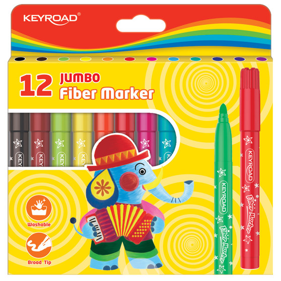 Keyroad Jumbo Fiber Colour Markers 12PK | Prices Plus