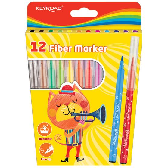 Keyroad Fiber Coloured Markers 12PK | Prices Plus