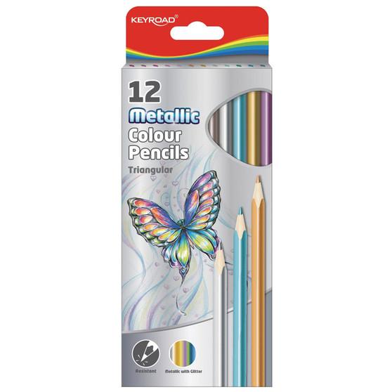 Keyroad Metallic Coloured Pencils 12PK | Prices Plus
