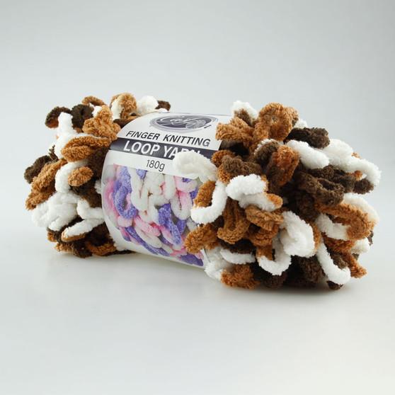 Cast On Finger Knitting Loop Yarn 180 gram Brown / Coffee / White - 10 pack | Prices Plus