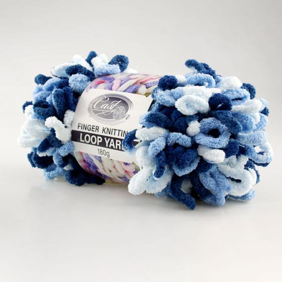 Cast On Finger Knitting Loop Yarn 180 gram Blue / White - 10 pack | Prices Plus