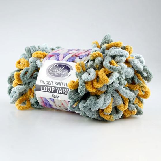 Cast On Finger Knitting Loop Yarn 180 gram Grey / Tan - 10 pack   Prices Plus